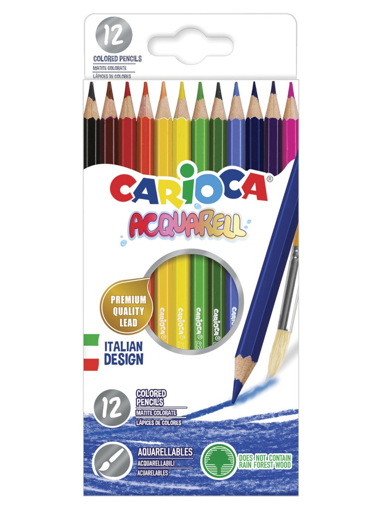 Карандаши цветные Carioca Acquarell 12 цветов 42857