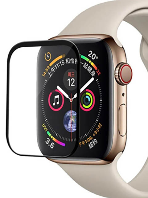 Аксессуар Защитное стекло Activ для Apple Watch 44mm Polymer Nano Matt Black 117519