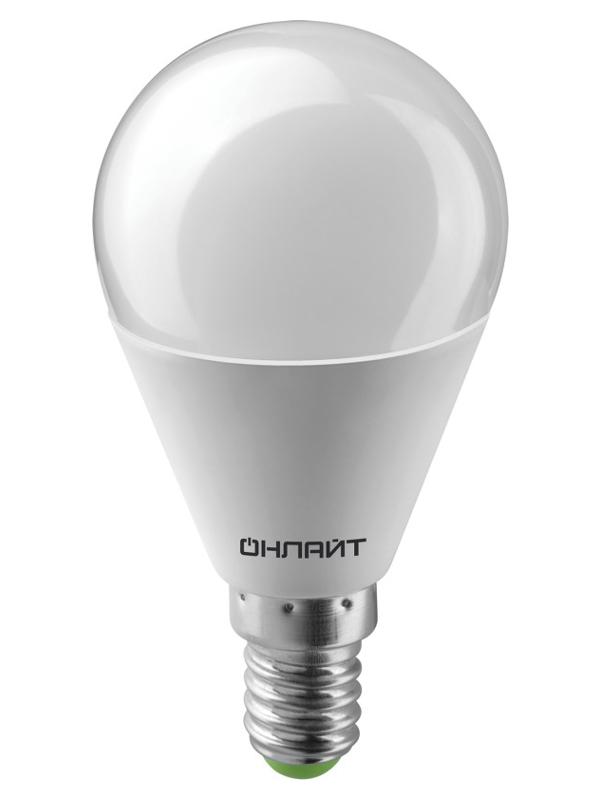 Лампочка ОнЛайт LED E14 10W 230V 6500K OLL-G45-10-230-6.5K-E14 61 967