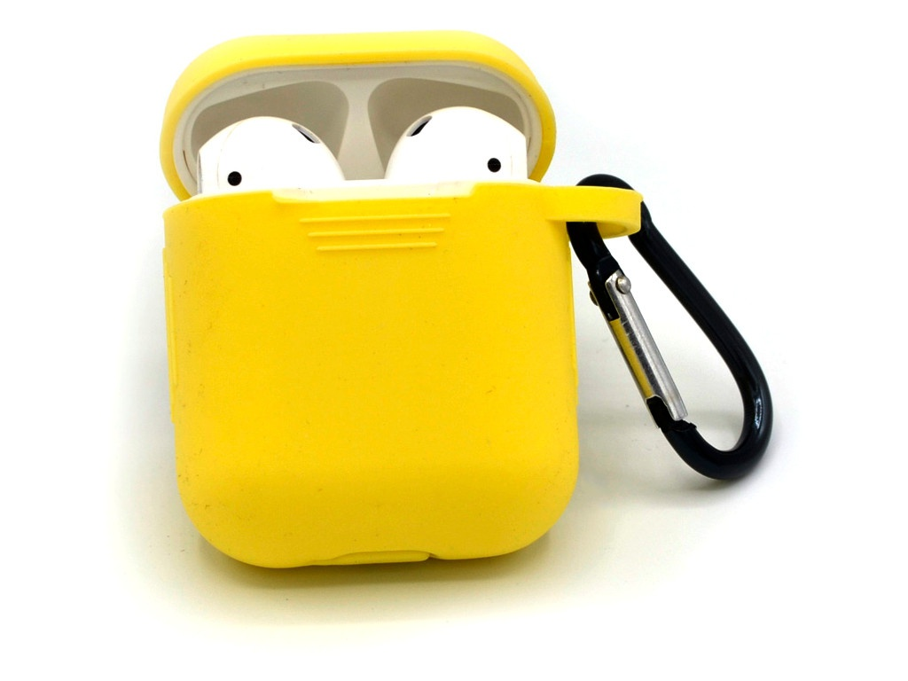 Чехол Innovation для AirPods Silicone с карабином Yellow 15226