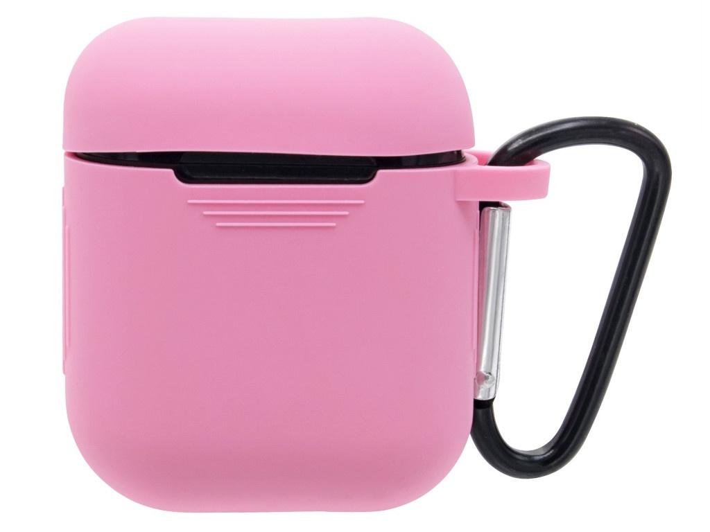 Чехол Innovation для AirPods Silicone с карабином Light Pink 15225
