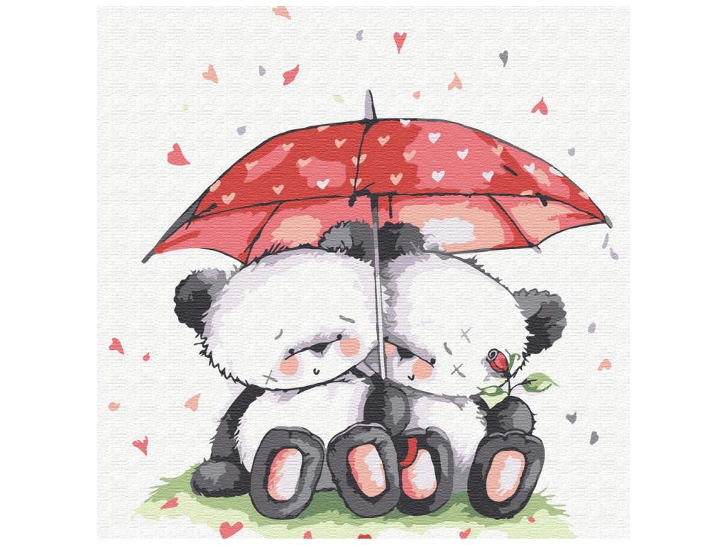 Картина по номерам Molly Медвежата под зонтом 20x20cm KH0443