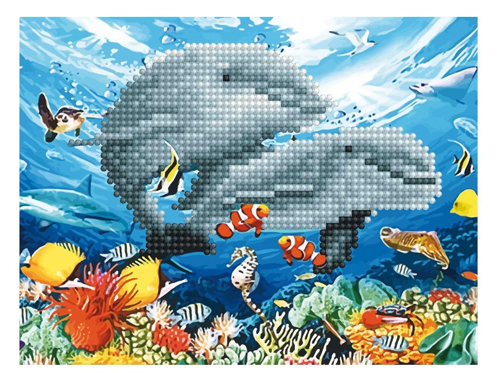 Набор для творчества Molly Картина мозаикой Дельфины в море 15x20cm KM0724