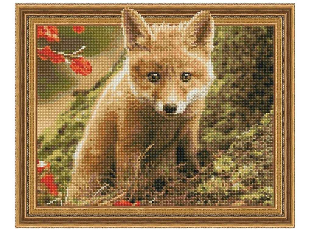 Набор для творчества Molly Картина 3D мозаика с нанесенной рамкой Лисенок в осеннем лесу 40x50cm KM0780