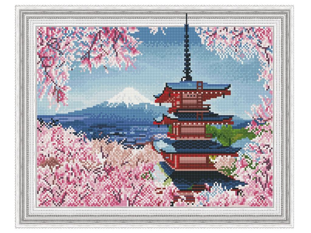 Набор для творчества Molly Картина 3D мозаика с нанесенной рамкой Японская пагода 40x50cm KM0779