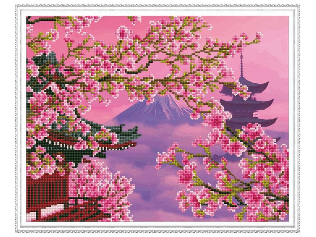 Набор для творчества Molly Алмазная мозаика с нанесенной рамкой Самоцветы Фудзияма 40x50cm KM0136