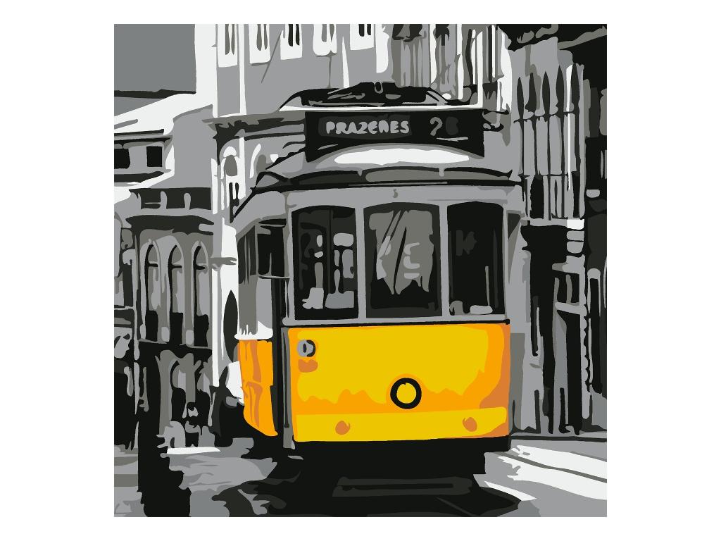 Картина по номерам Котеин Старинный трамвай 30x30cm KHM0060