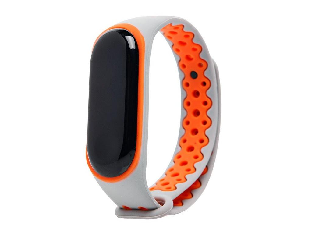 Aксессуар Ремешок Activ для Xiaomi Mi Band 3 / 4 Sport N Silicone Grey-Orange 90372