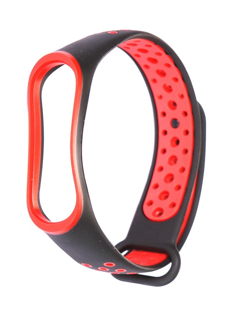 Aксессуар Ремешок Activ для Xiaomi Mi Band 3 / 4 Sport N Silicone Black-Red 90370