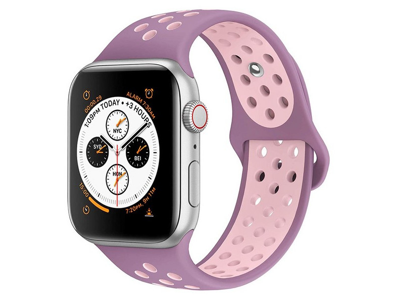 Аксессуар Ремешок Krutoff для APPLE Watch 42/44mm Silicone Sport Purple-Pink 03290