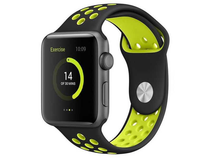 Аксессуар Ремешок Krutoff для APPLE Watch 42/44mm Silicone Sport Black-Yellow 03288