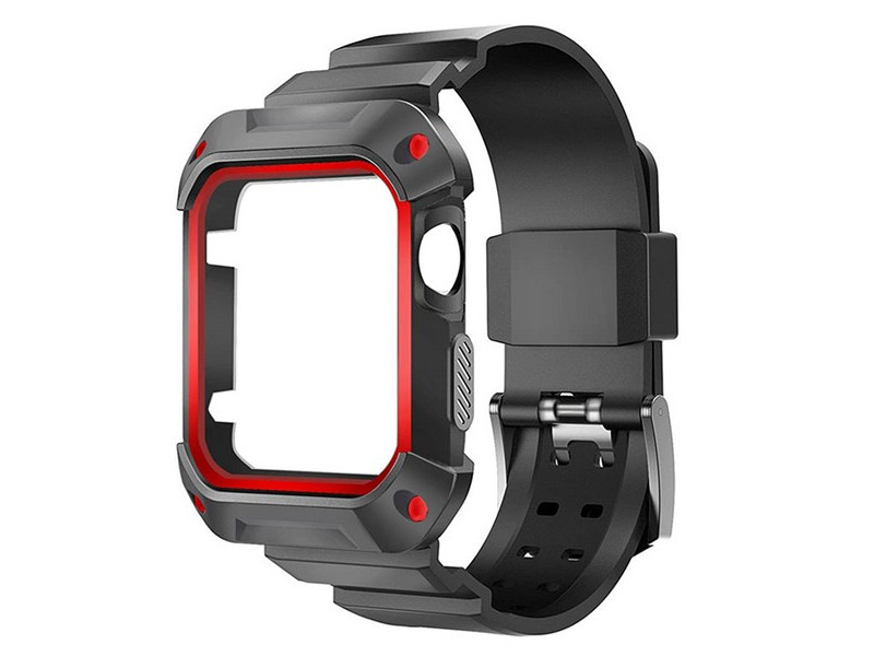 Аксессуар Ремешок Krutoff One-piece для APPLE Watch 42/44mm Black-Red 03598