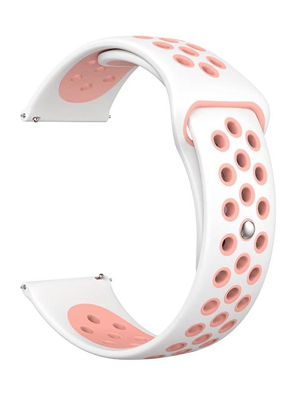 Аксессуар Универсальный силиконовый ремешок Lyambda 20mm Alioth White-Pink DS-GS-03-20-PK