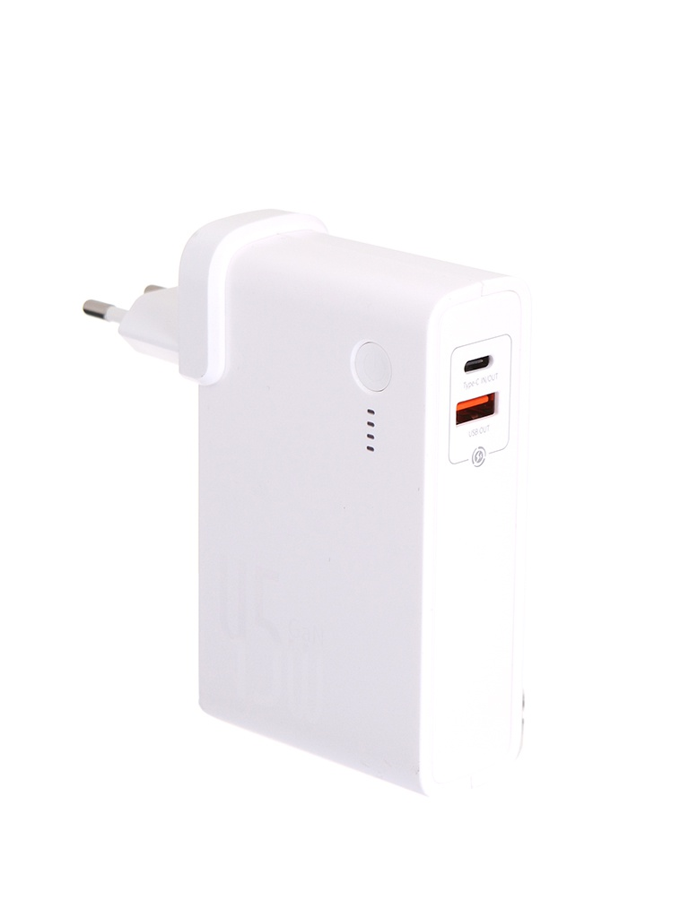 Внешний аккумулятор Baseus Power Station GaN C+U 10000mAh 45W EU White PPNLD-C02