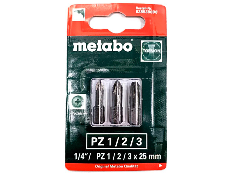 Набор бит Metabo Pozidriv PZ 1/2/3 Torsion 3шт 628538000