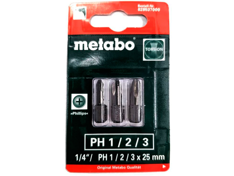 Набор бит Metabo Phillips PH 1/2/3 3шт 628537000