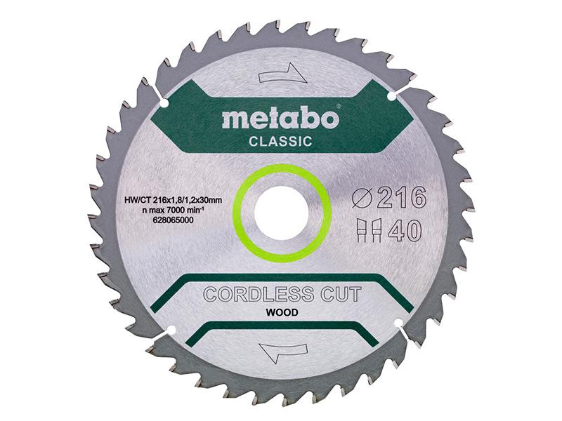 Диск Metabo Cordless Cut Classic пильный по дереву216x30mm40Z WZ5 628654000