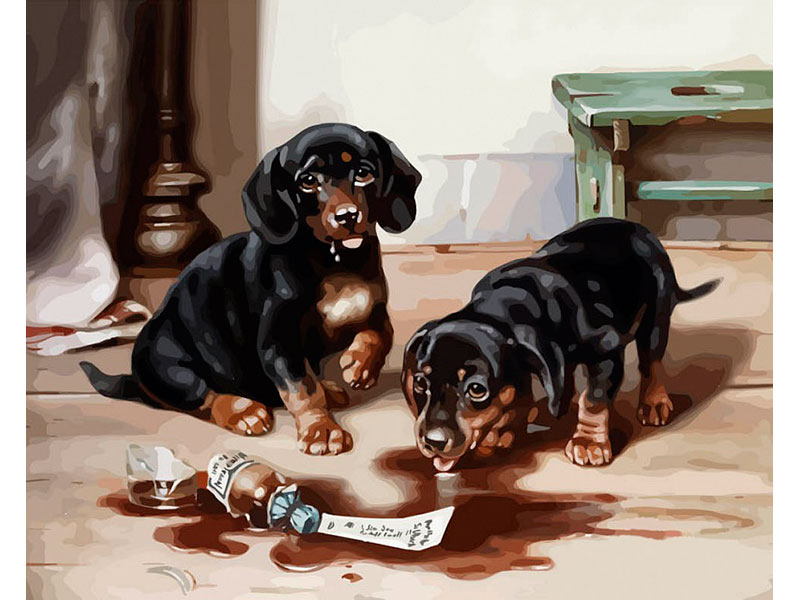 Картина по номерам Dali Арт дереву Два щенка WH004