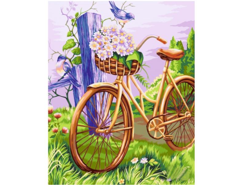 Картина по номерам Русская живопись Велосипед с корзинкой 40x50cm E009