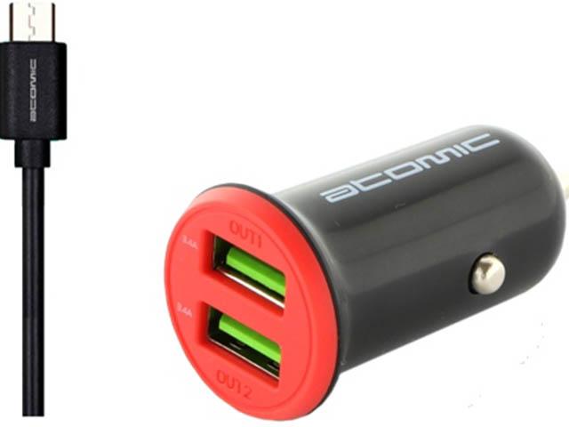 Зарядное устройство Atomic C206M 2xUSB 3.4A + кабель MicroUSB