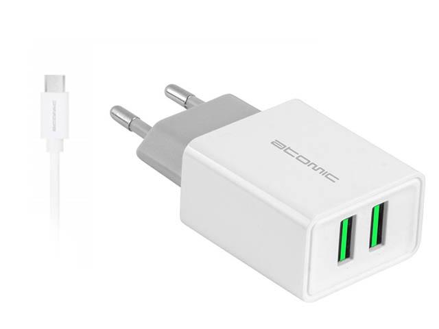 Зарядное устройство Atomic U207M 2.1A + кабель MicroUSB