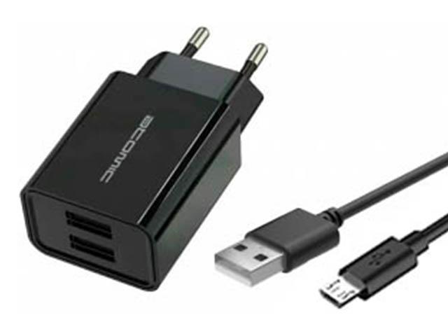 Зарядное устройство Atomic U400 2xUSB 2.1A + кабель MicroUSB