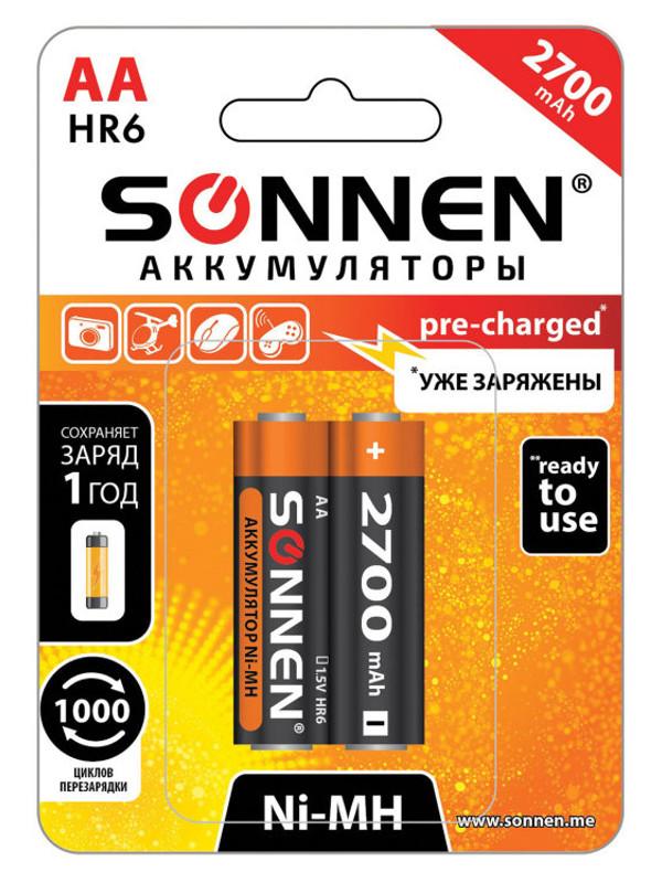 Аккумулятор AA - Sonnen HR06 2700 mAh Ni-Mh 2шт 454235