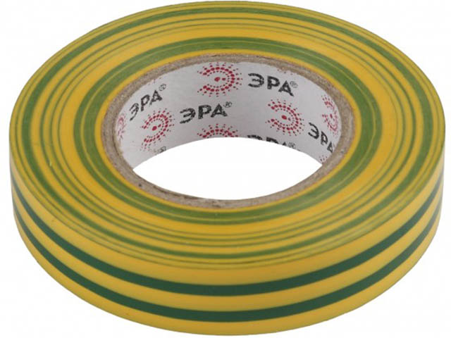 Изолента Эра ПВХ 15mm х 10m Yellow-Green 43942/43935