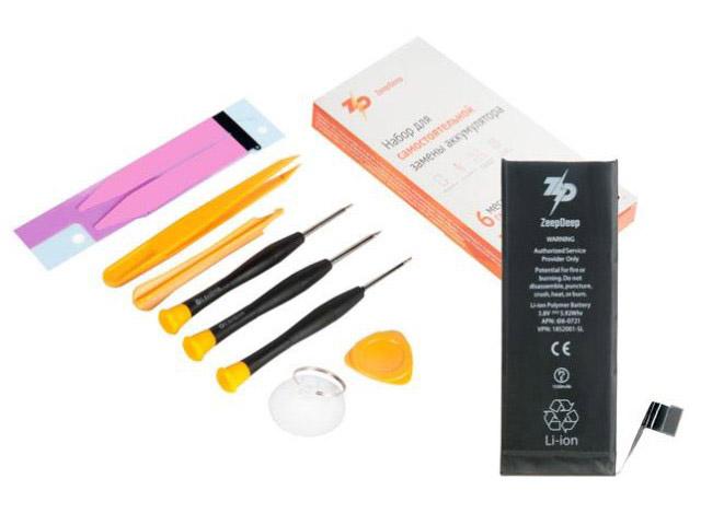 Инструмент для самостоятельного ремонта телефона ZeepDeep Аккумулятор для APPLE iPhone 5S/iPhone 5C + набор инструментов+клеевые полоски+пошаговая инструкция 753508