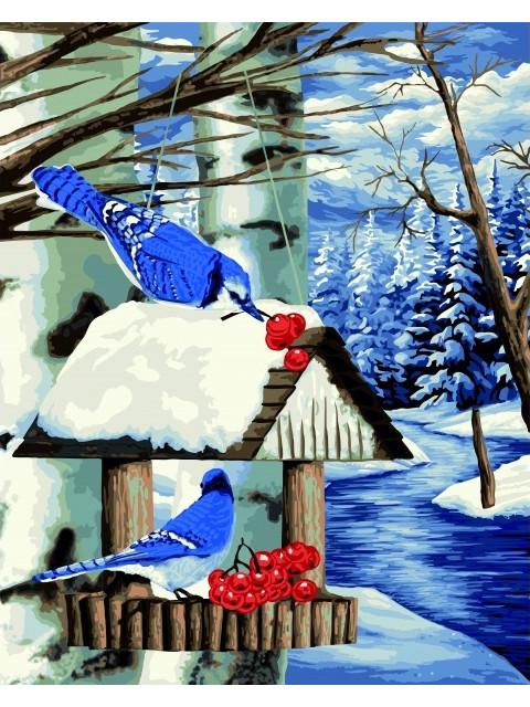 Картина по номерам Русская Живопись Птичья кормушка 40x50cm L031