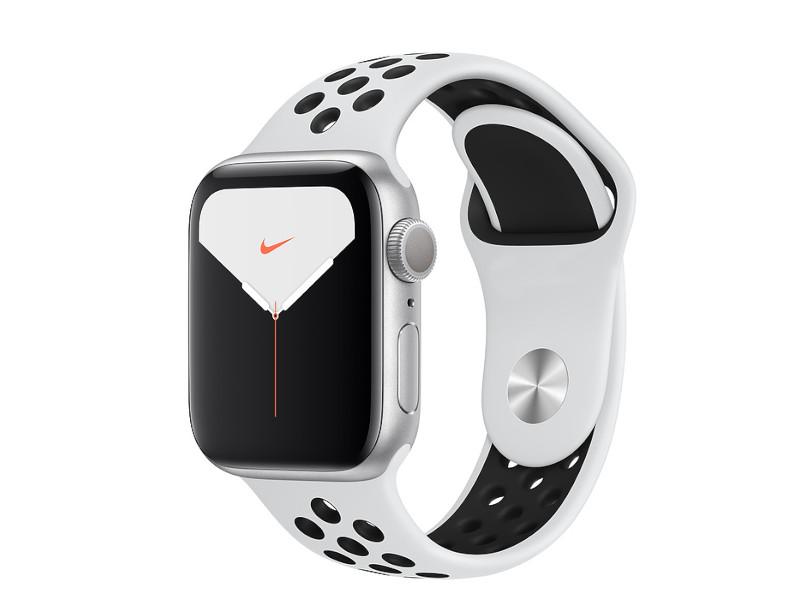 Умные часы APPLE Watch Nike Series 5 40mm Silver Aluminium with Pure Platinum-Black Sport Band MX3R2RU/A Выгодный набор + серт. 200Р!!!