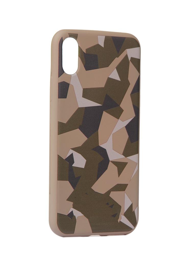 Чехол Krutoff для APPLE iPhone X/Xs Polygonal Military Green 10348