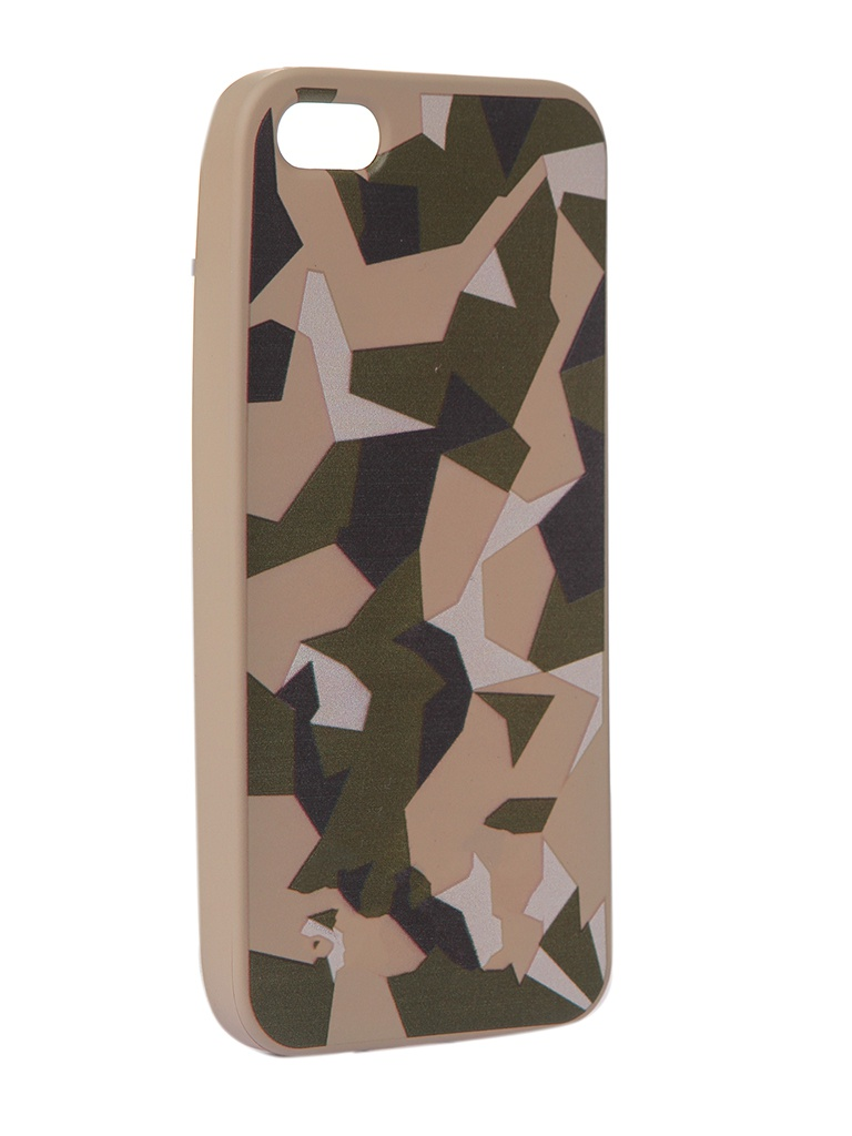 Чехол Krutoff для APPLE iPhone 5/5S/SE Polygonal Military Green 10309