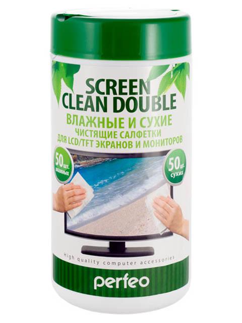 Чистящие салфетки Perfeo Screen Clean Double 50 сухих и влажных 100шт PF-T/SCDW-50/50