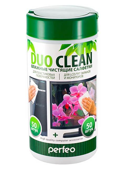 Чистящие салфетки Perfeo Duo Clean 50 для пластика и экранов 100шт PF-T/SCPC-50/50