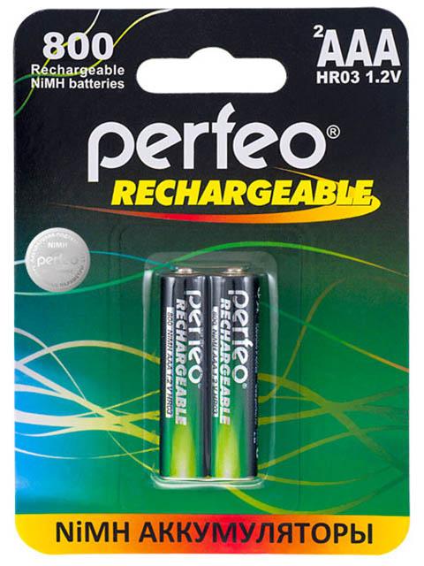 Аккумулятор AAA - Perfeo 800 mAh PF AAA800/2BL (2 штуки)
