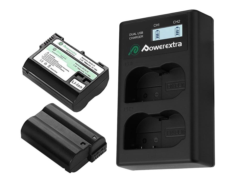 Зарядное устройство Powerextra EN-EL15 +2 аккумулятора 21274