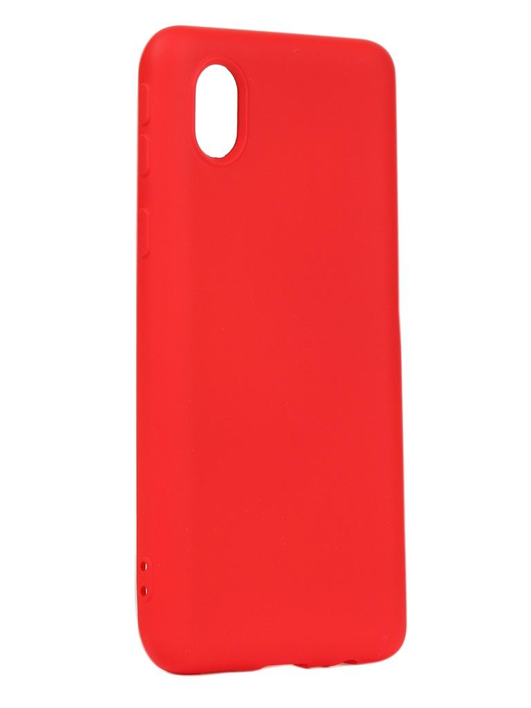 Чехол DF для Samsung Galaxy A01 Core Silicone Red sOriginal-18