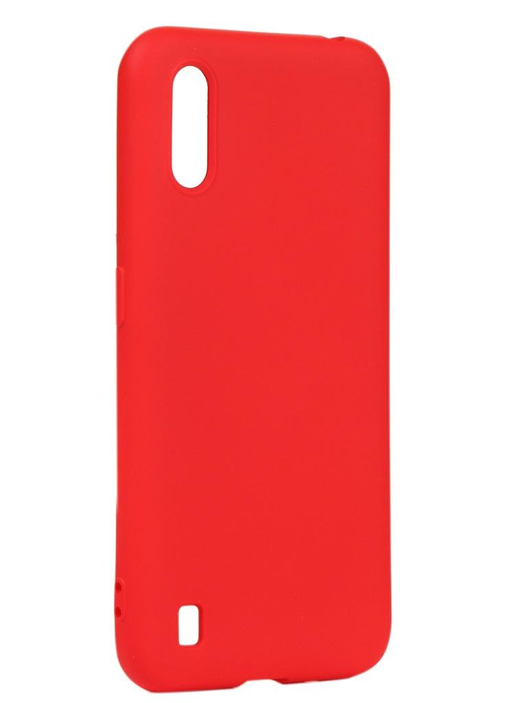 Чехол DF для Samsung Galaxy A01 Silicone Red sOriginal-07