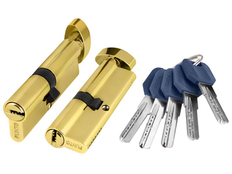 Цилиндровый механизм с вертушкой Punto Z402 60mm (25+10+25) PB Brass