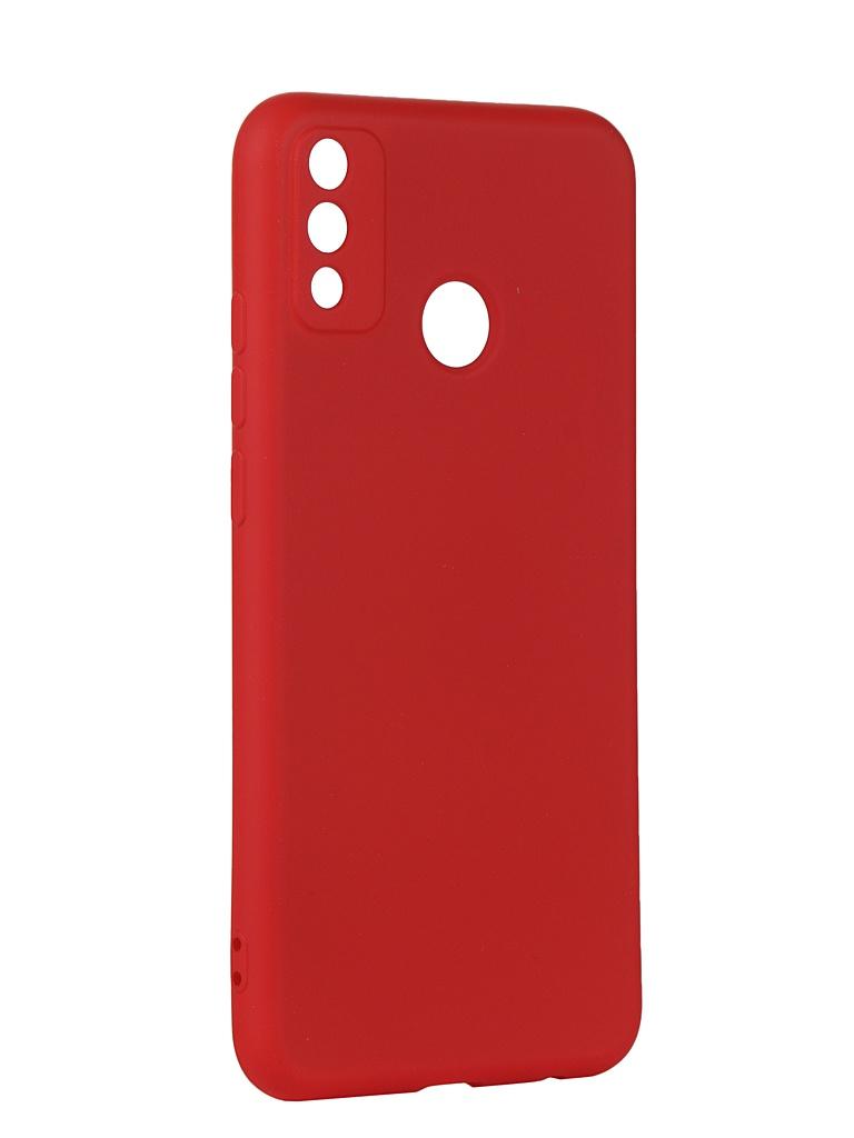 Чехол с микрофиброй DF для Honor 9X Lite Silicone Red hwOriginal-18