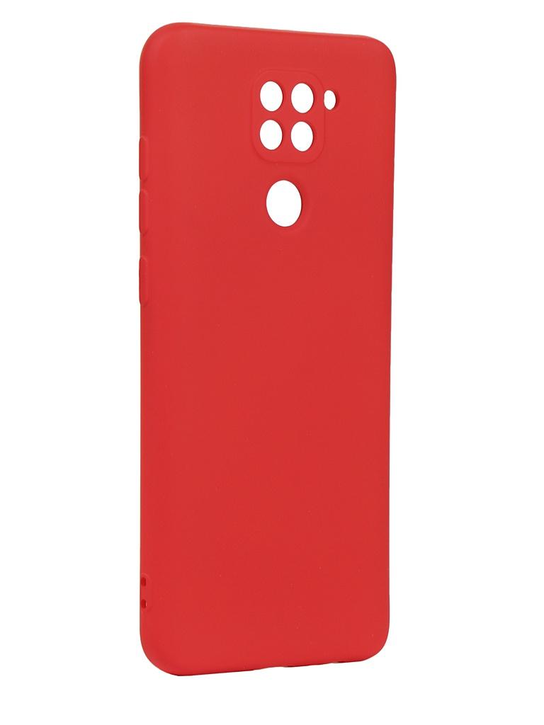 Чехол с микрофиброй DF для Xiaomi Redmi 9 Silicone Red xiOriginal-12