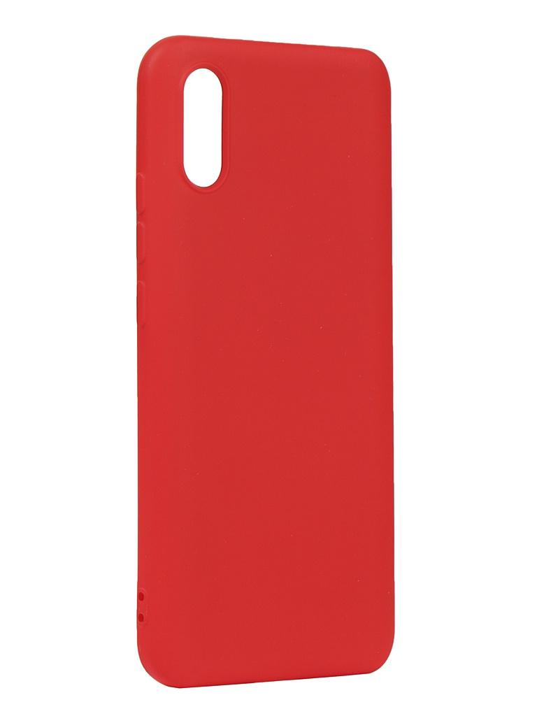 Чехол с микрофиброй DF для Xiaomi Redmi 9A Silicone Red xiOriginal-13