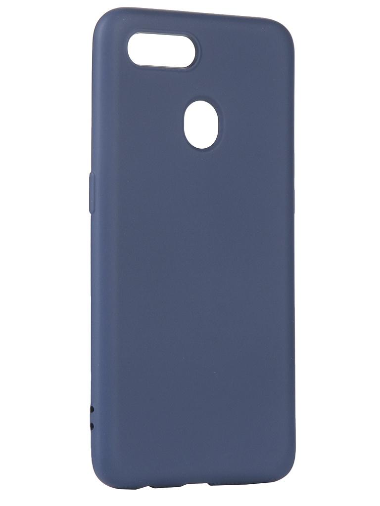 Чехол с микрофиброй DF для Oppo A5s Silicone Blue oOriginal-06