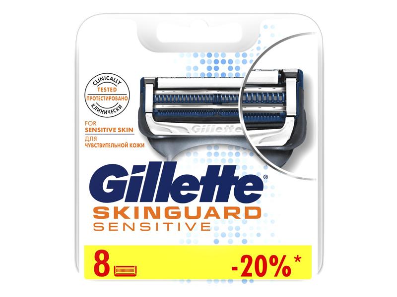 Сменные кассеты Gillette Skinguard Sensitive 8шт 7702018488384