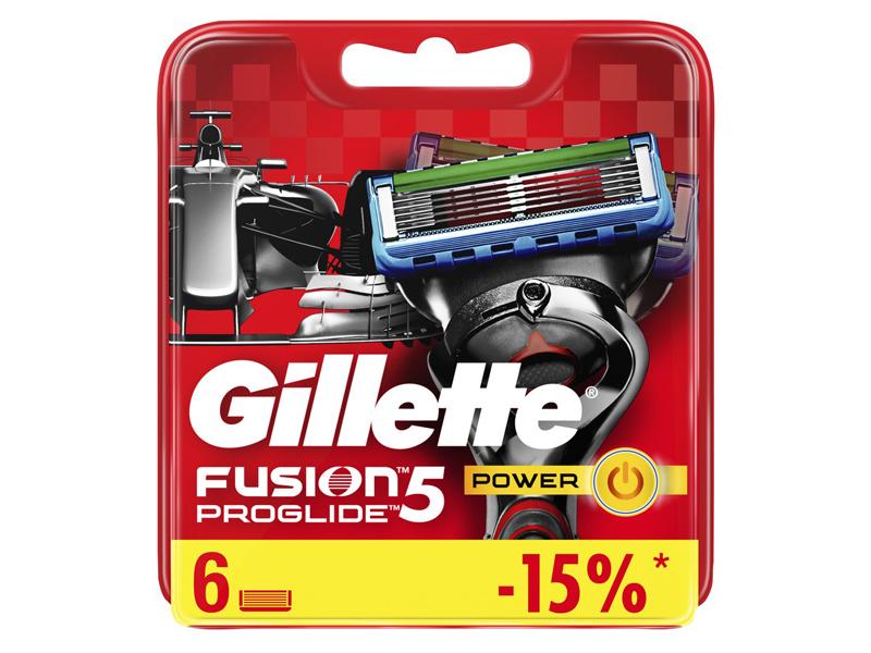 Сменные кассеты Gillette Fusion5 ProGlide Power Red 6шт 7702018510047