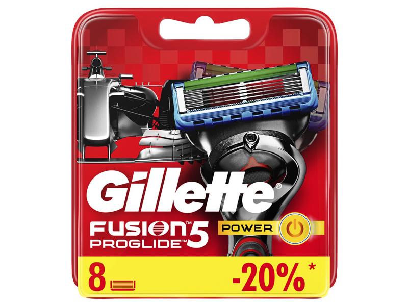 Сменные кассеты Gillette Fusion5 ProGlide Power Red 8шт 7702018085606