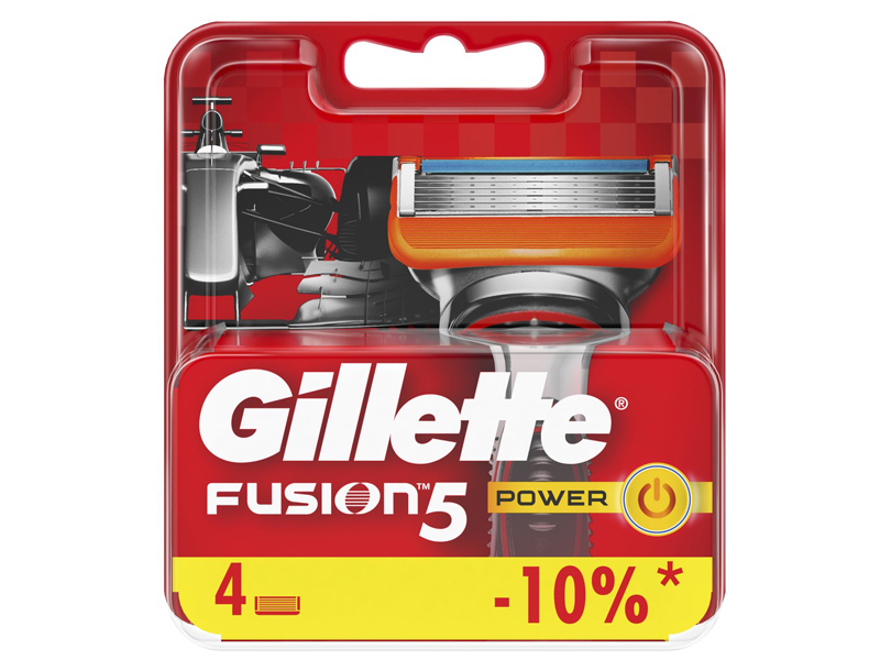 Сменные кассеты Gillette Fusion5 Power Red 4шт 7702018877591