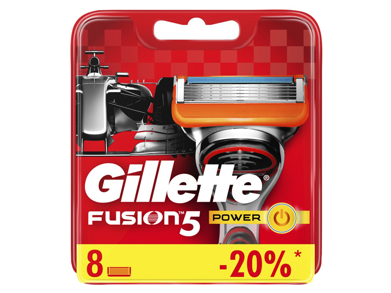 Сменные кассеты Gillette Fusion5 Power Red 8шт 7702018877621