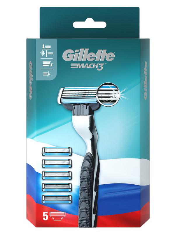 Бритва Gillette Mach3 + 5 кассет